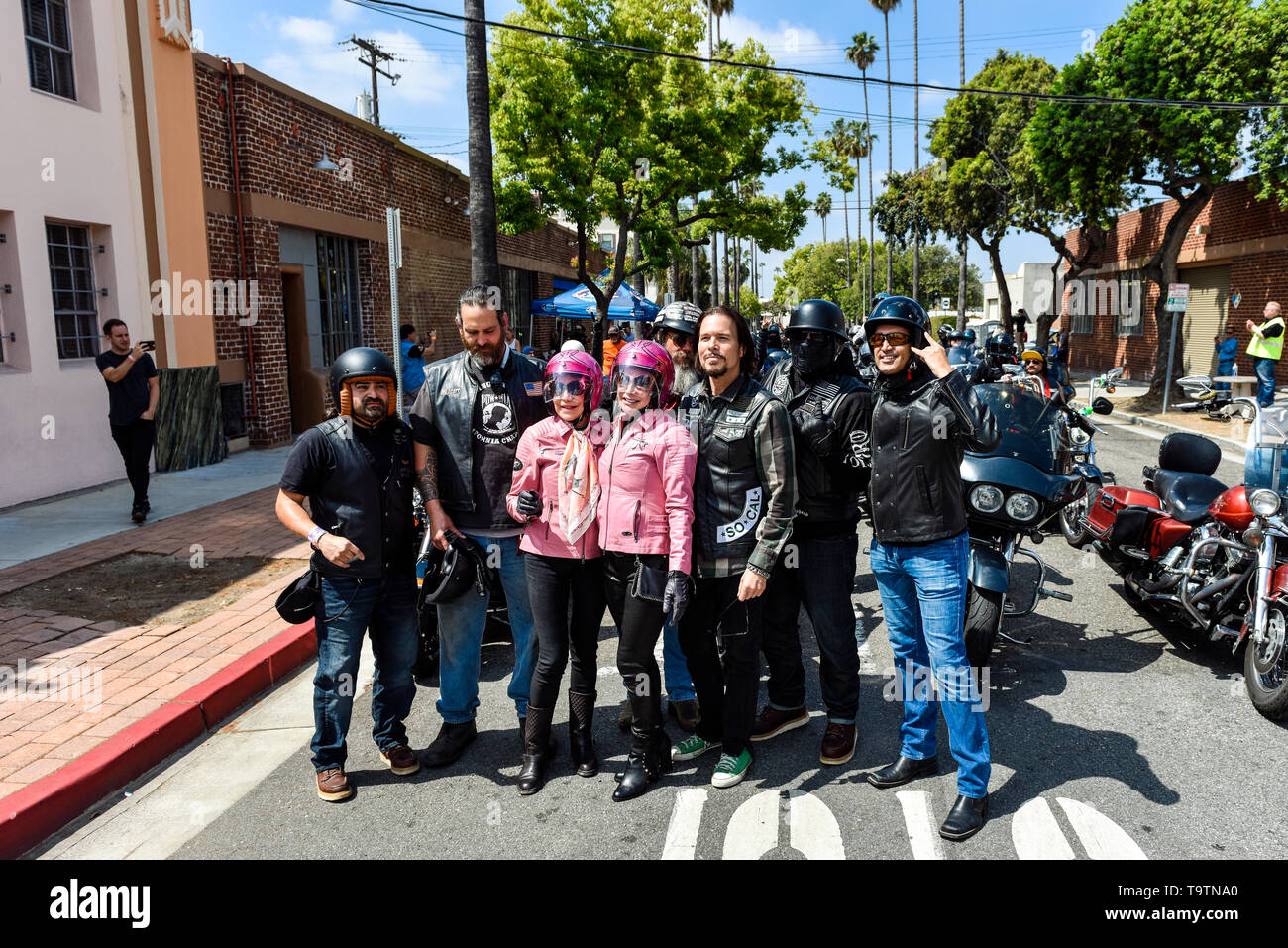 May 5, 2019, Glendale, California, Wendy Dio and friends at the 5th annual Ride for Ronnie charity motorcycle ride & concert Stock Photo