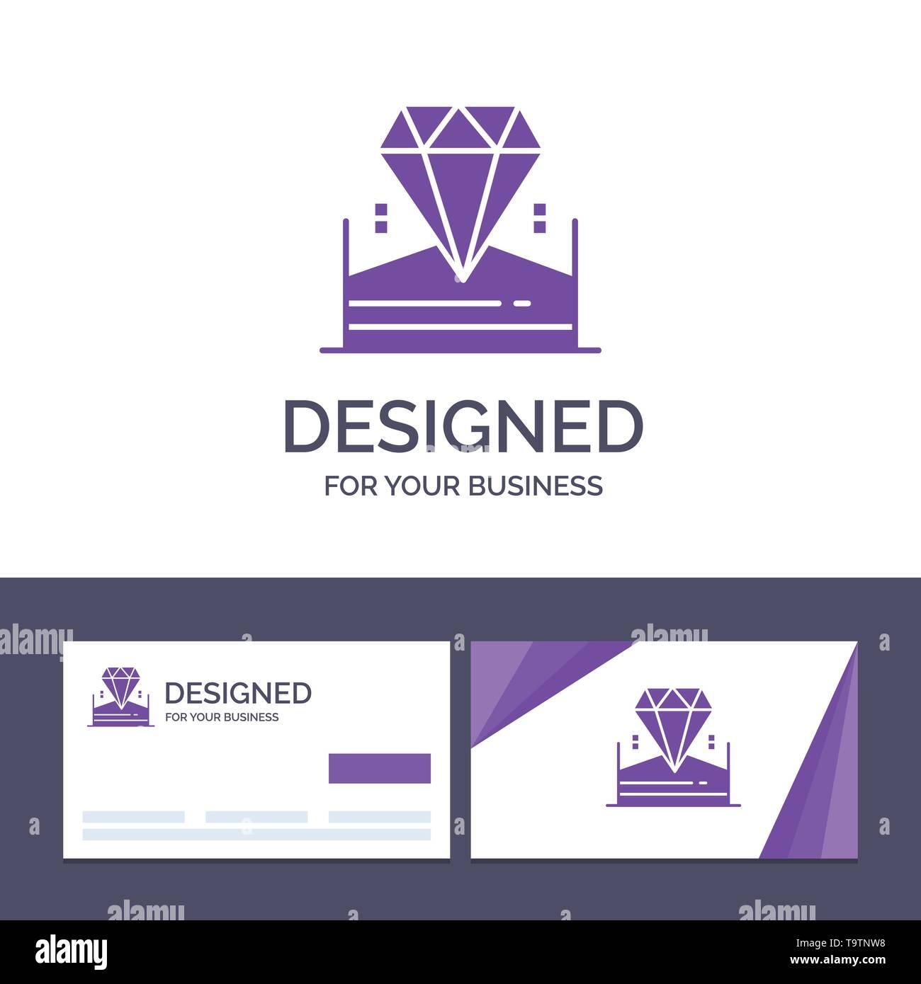 Creative Business Card and Logo template Brilliant, Diamond, Jewel, Hotel Vector Illustration - Stock Image