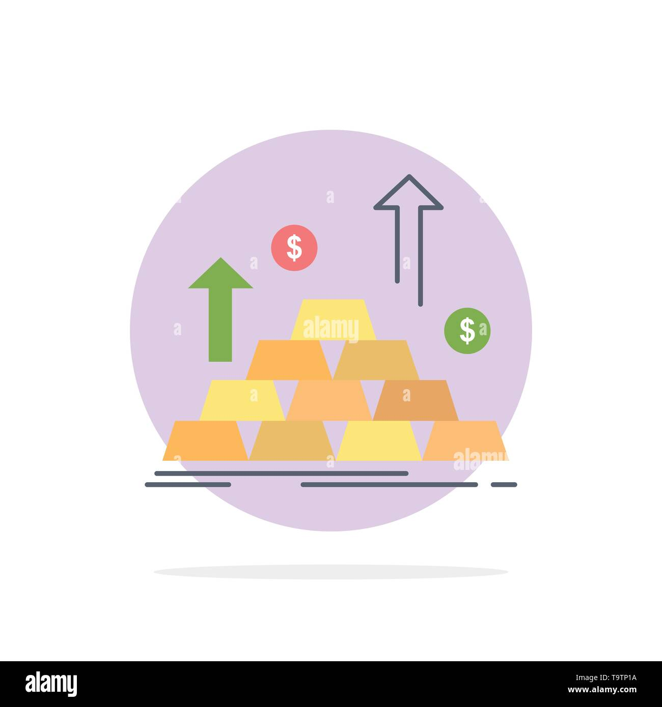 gold, coin, cash, money, growth Flat Color Icon Vector - Stock Image