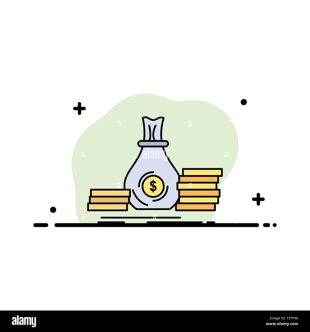 Accumulation, bag, investment, loan, money Flat Color Icon Vector - Stock Image