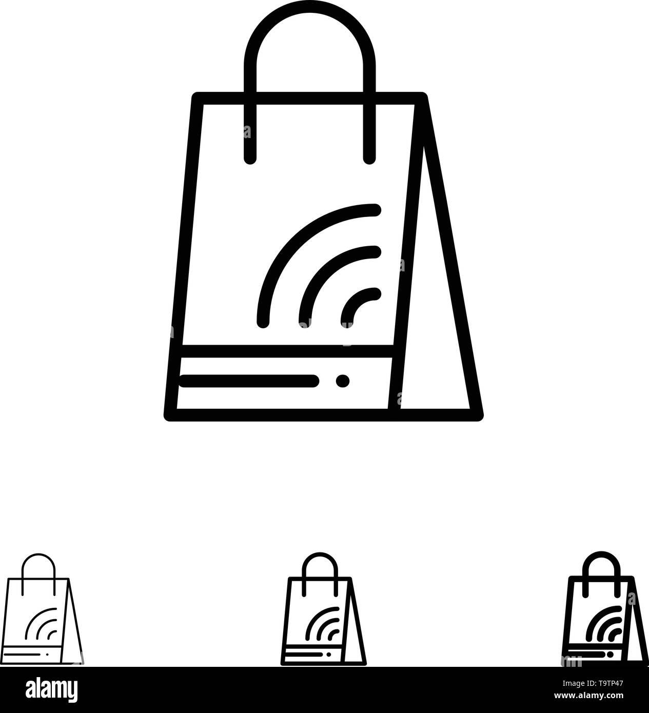 Bag, Handbag, Wifi, Shopping Bold and thin black line icon set - Stock Image