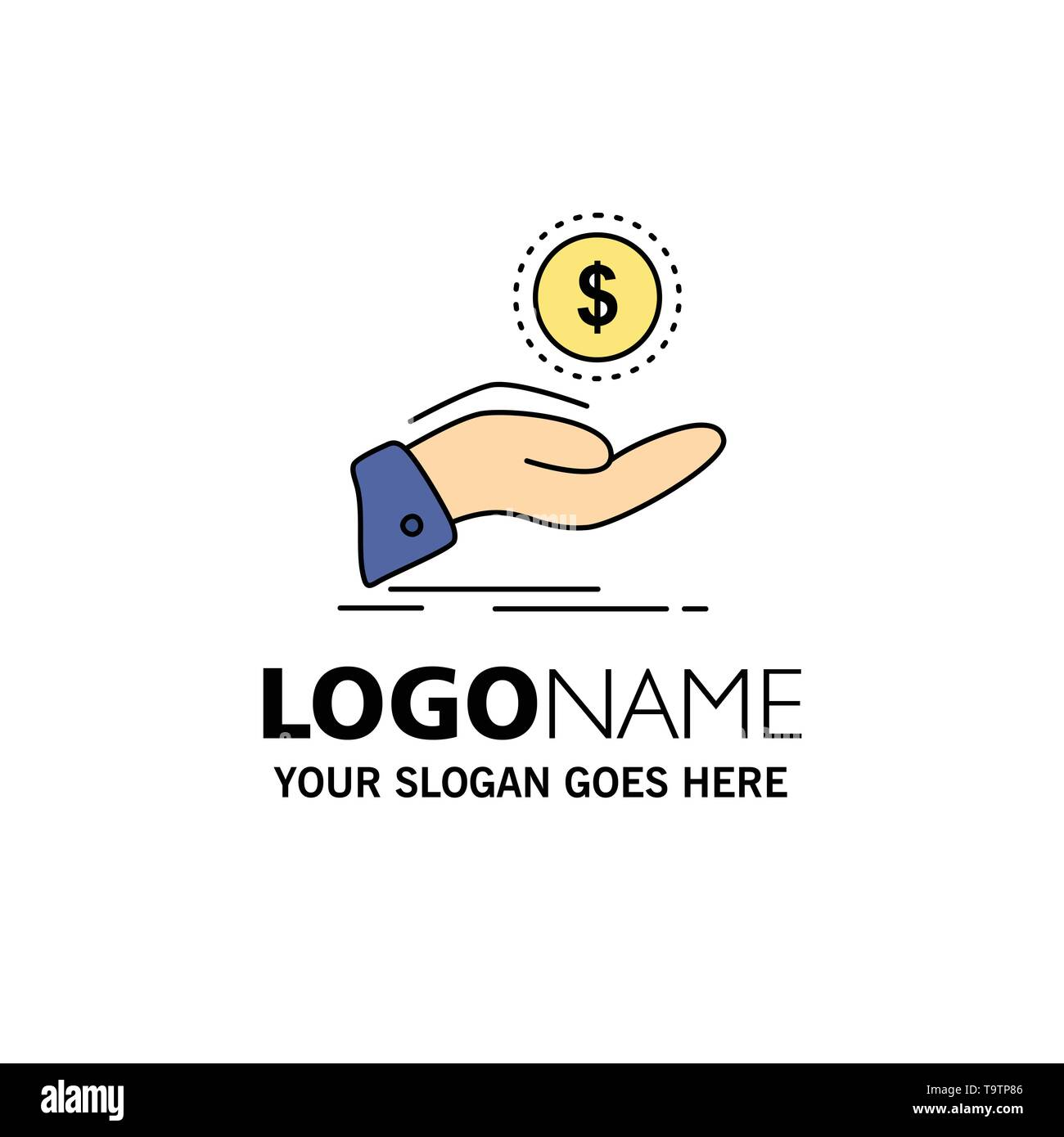 help, cash out, debt, finance, loan Flat Color Icon Vector - Stock Image