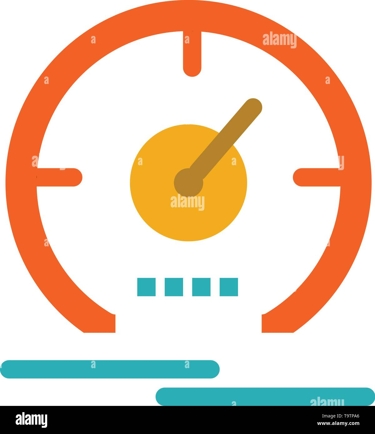 Gauge, Dashboard, Meter, Speed, Speedometer  Flat Color Icon. Vector icon banner Template - Stock Image