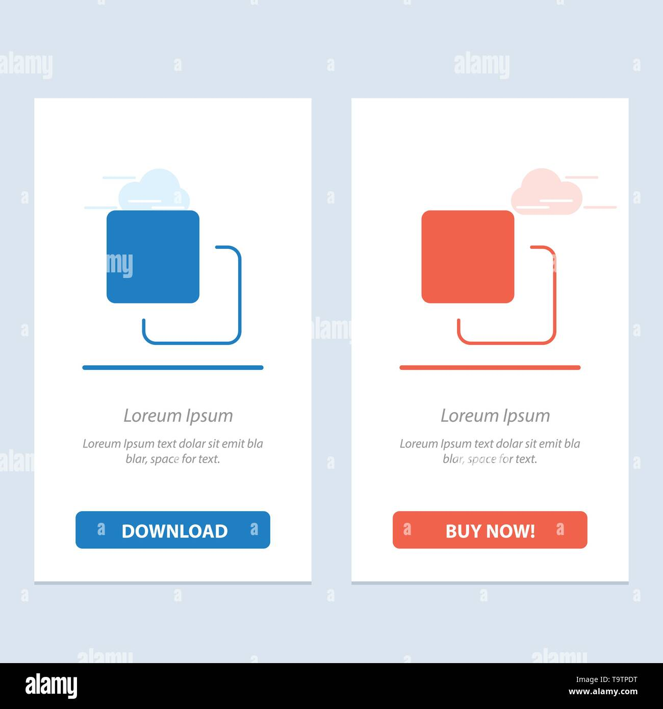 Four, Media, Quadruple, Stack  Blue and Red Download and Buy Now web Widget Card Template - Stock Image