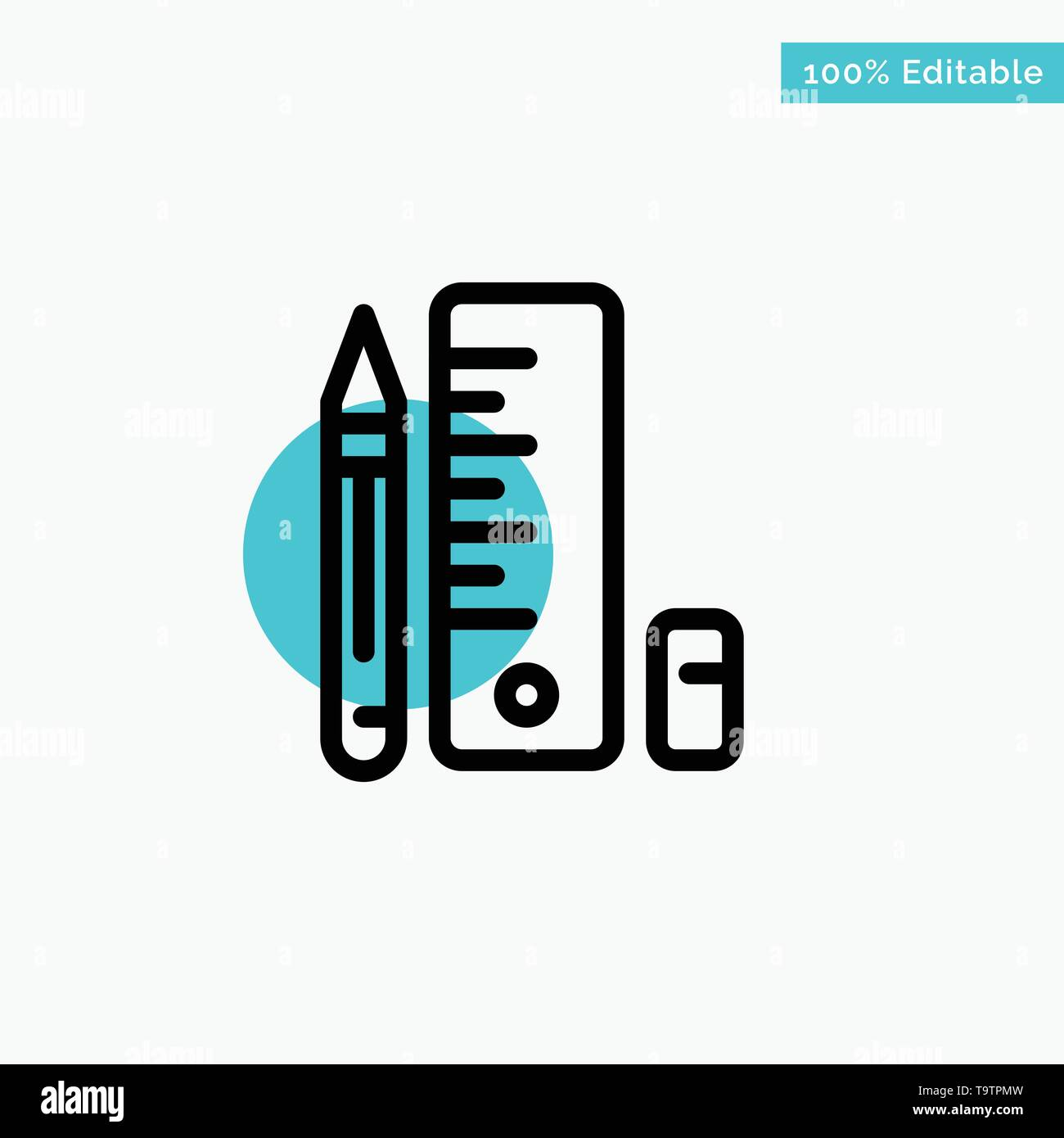 Education, Pen, Pencil, Scale turquoise highlight circle point Vector icon - Stock Image