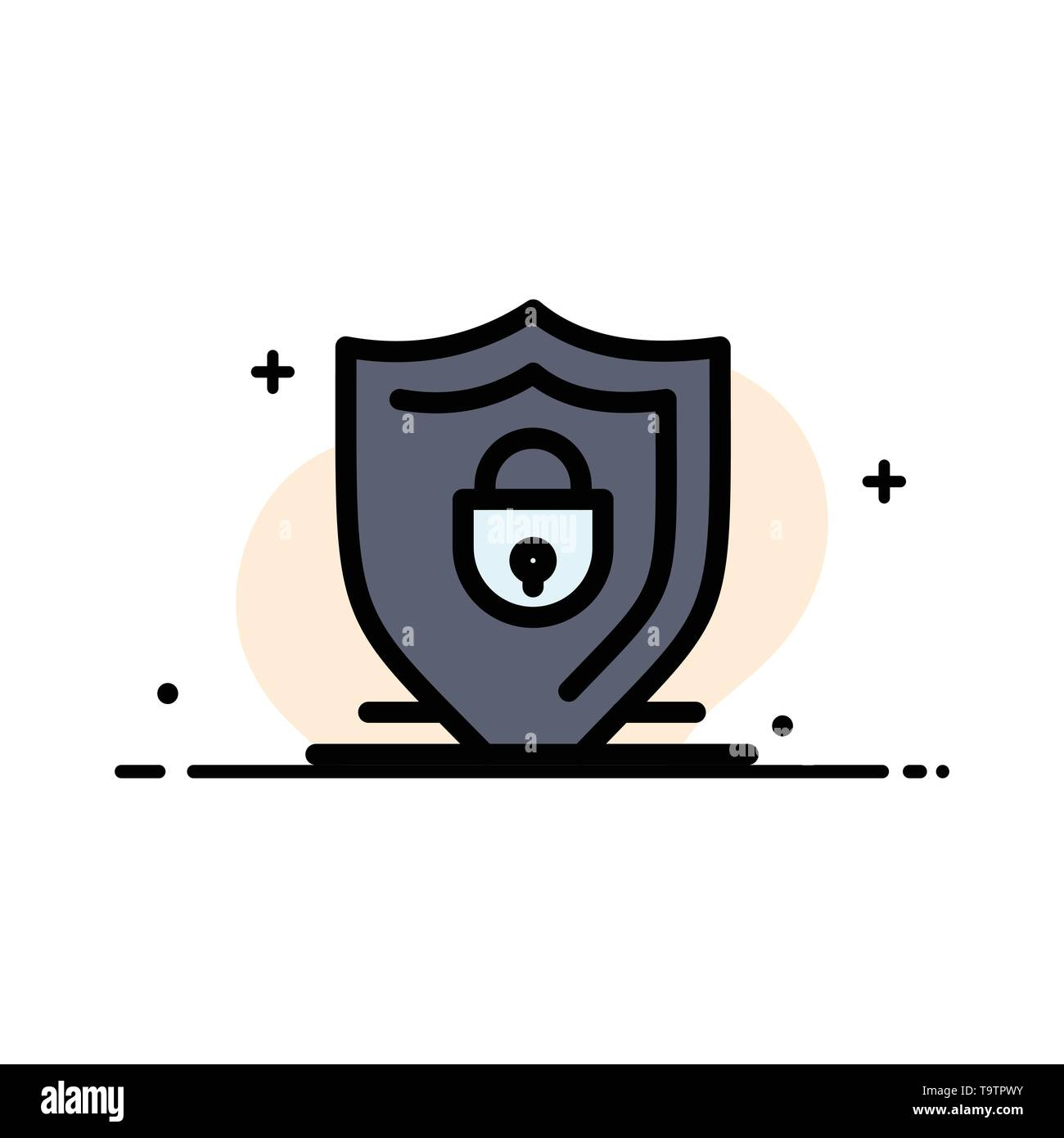 Internet, Shield, Lock, Security  Business Flat Line Filled Icon Vector Banner Template - Stock Image