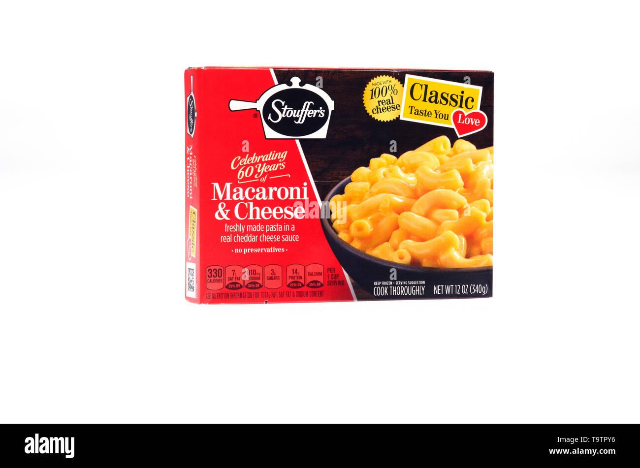Stouffer's Classic Macaroni & Cheese frozen food box - Stock Image
