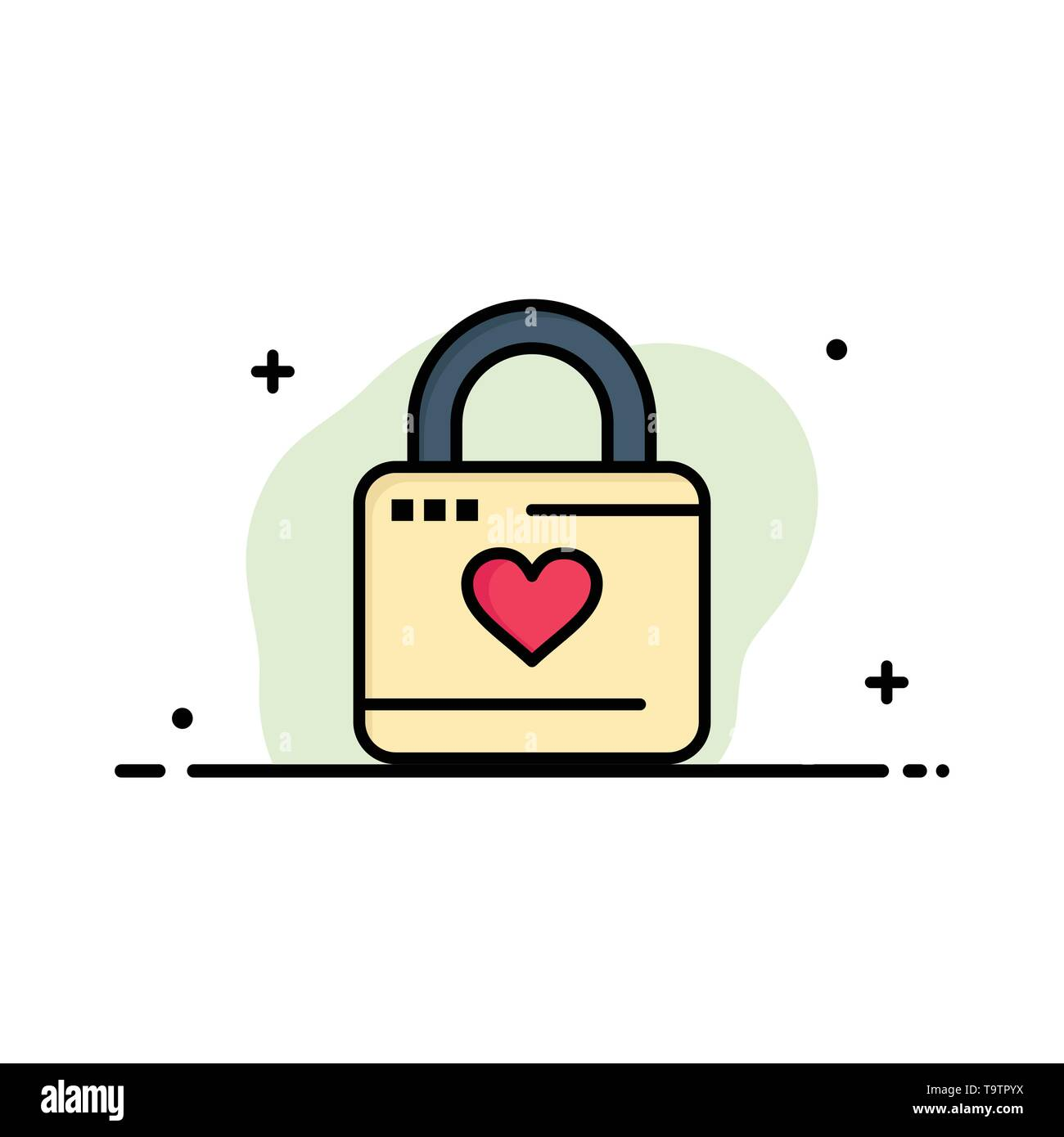 Lock, Locker, Heart, Heart Hacker, Heart Lock Business Logo Template. Flat Color - Stock Image