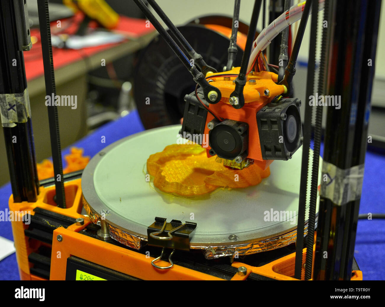 Turin, Piedmont, Italy. June 3 2018. At the Fablab in Turin a demo with a three-dimensional printer at work. - Stock Image