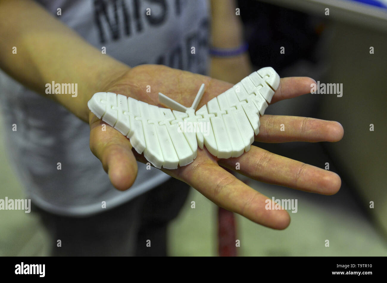 Turin, Piedmont, Italy. June 3 2018. At the Fablab in Turin a demo with a three-dimensional printer at work. In the hand a butterfly, made in 3D print - Stock Image