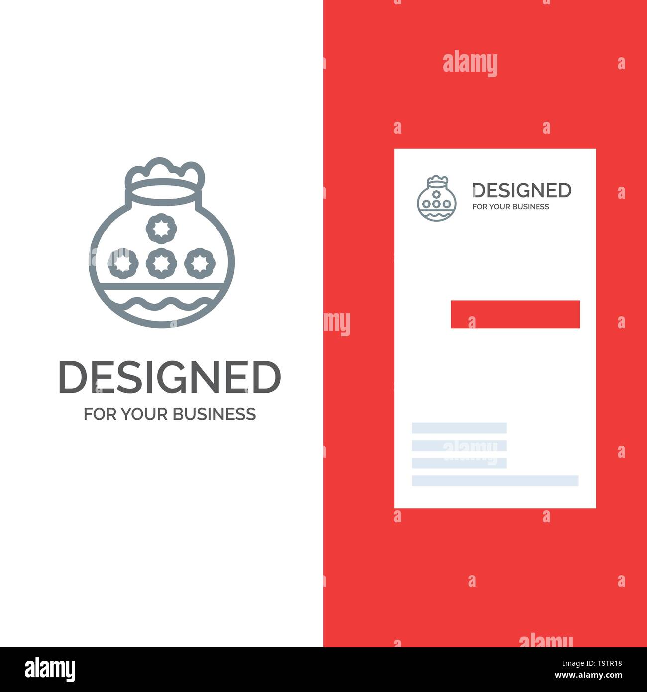 Pot, Sand, Water, Pongal, Festival Grey Logo Design and Business Card Template - Stock Image