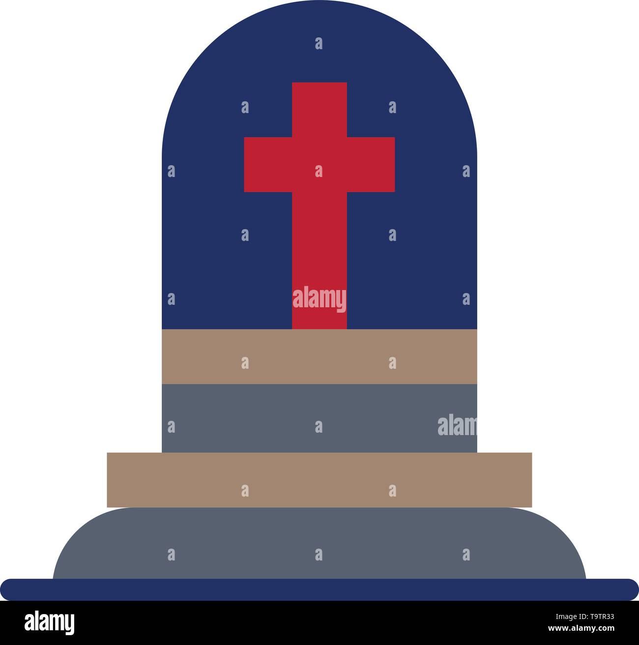 Death, Grave, Gravestone, Rip  Flat Color Icon. Vector icon banner Template - Stock Image