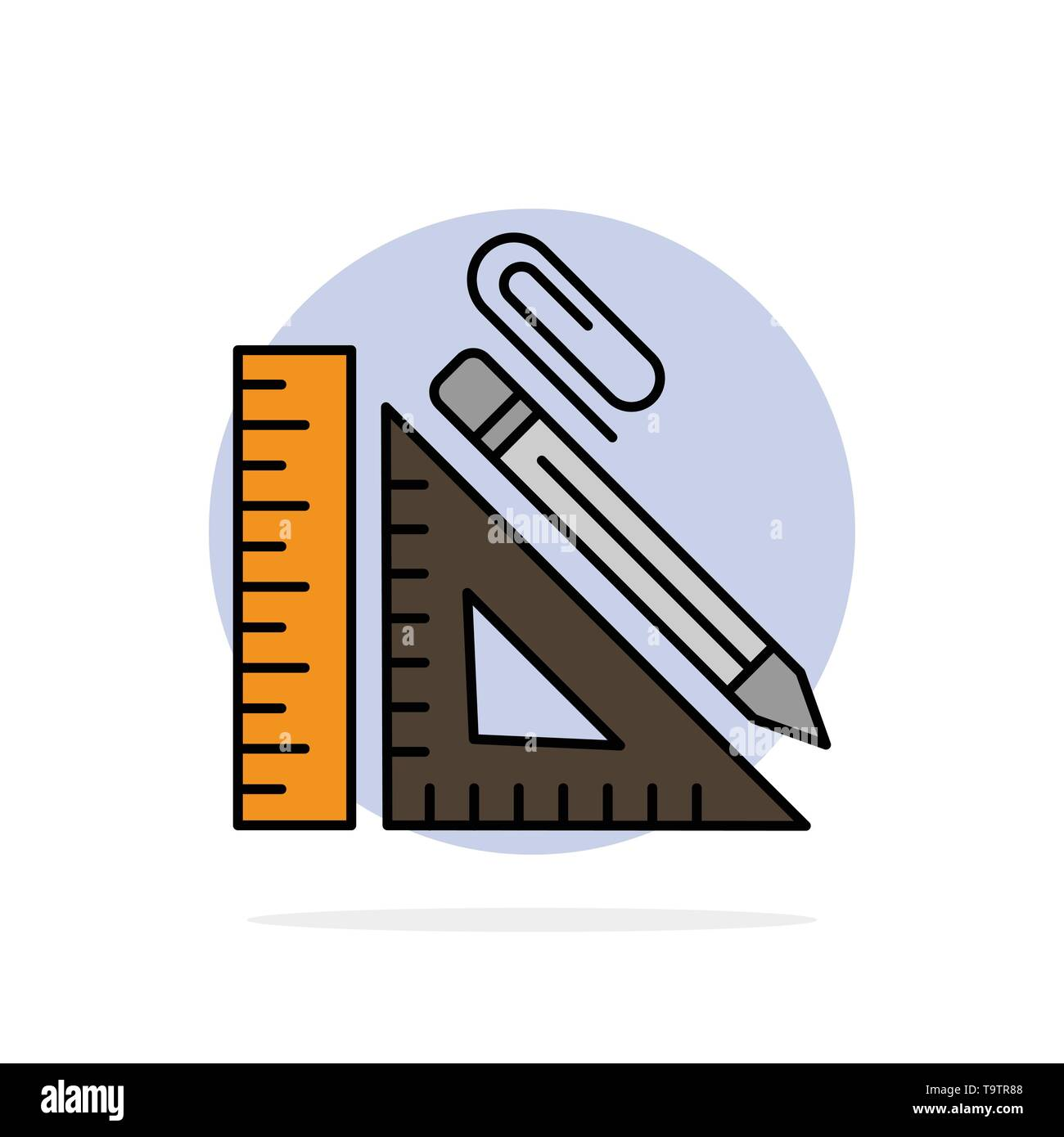 Scale, Construction, Pencil, Repair, Ruler, Clip Abstract Circle Background Flat color Icon - Stock Image
