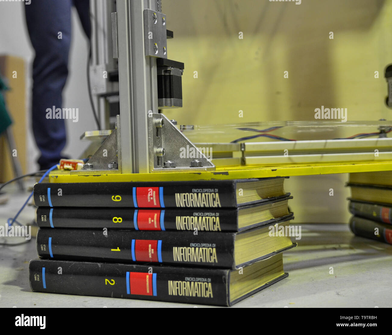 Turin, Piedmont, Italy. 3 June 2018. At the Fablab in Turin a demo with a three-dimensional printer at work. In the details of the old computer techno - Stock Image