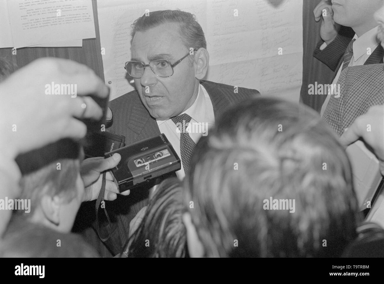 Moscow, Russia - July 07, 1991: Leader of the Communst party of russian RSFSR Ivan Kuzmich Polozkov talks to corespondents at 3d extraordinary Congress of people's deputies of russian RSFSR. - Stock Image