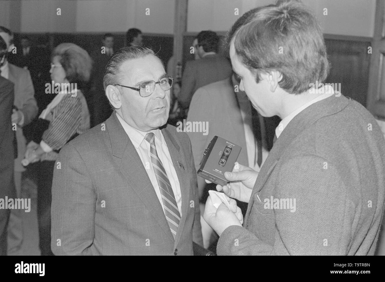 Moscow, Russia - July 07, 1991: Leader of the Communst party of russian RSFSR Ivan Kuzmich Polozkov talks to corespondent at 3d extraordinary Congress of people's deputies of russian RSFSR. - Stock Image