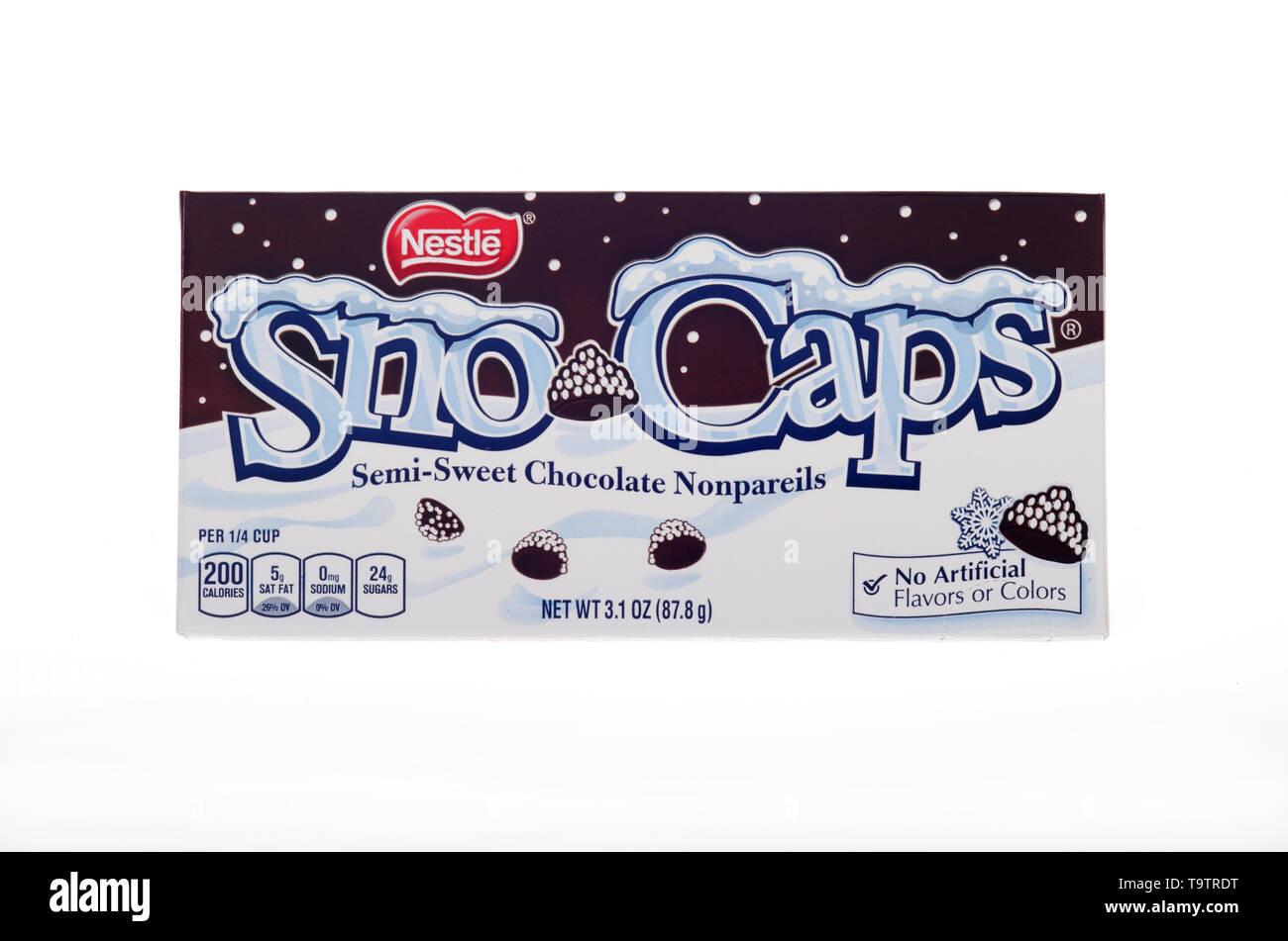 Nestle Sno-Caps semi-sweet chocolate nonpareils candy box - Stock Image