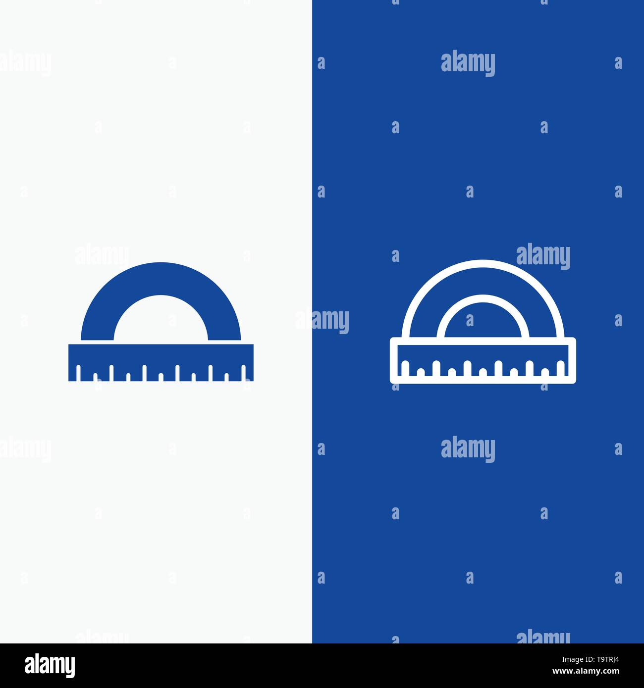Angle, Construction, Measure, Ruler, Scale Line and Glyph Solid icon Blue banner Line and Glyph Solid icon Blue banner - Stock Image