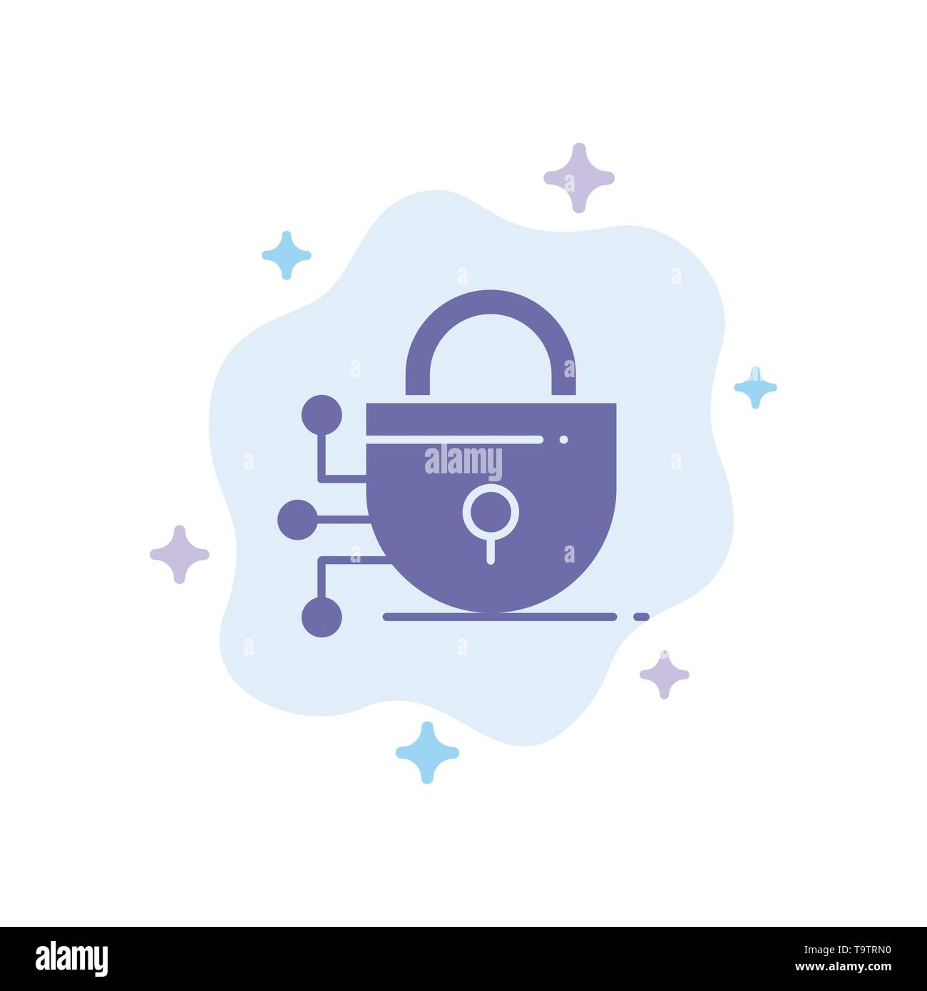 Digital, Lock, Technology Blue Icon on Abstract Cloud Background - Stock Image