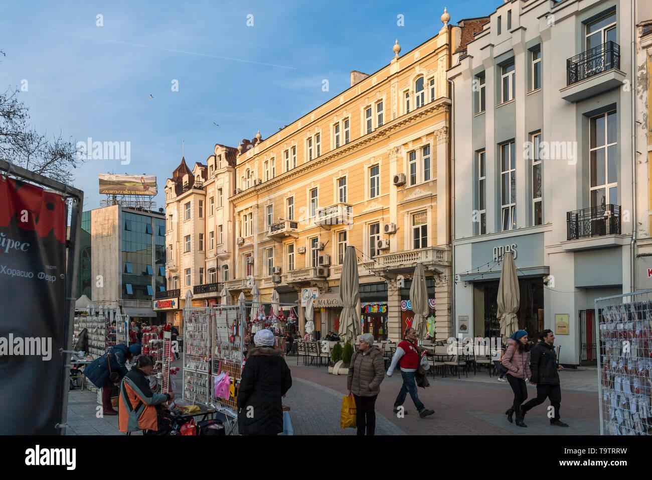 PLOVDIV, BULGARIA - FEBRUARY 10, 2019: Sunset view of central pedestrian street Knyaz Alexander I in city of Plovdiv, Bulgaria - Stock Image