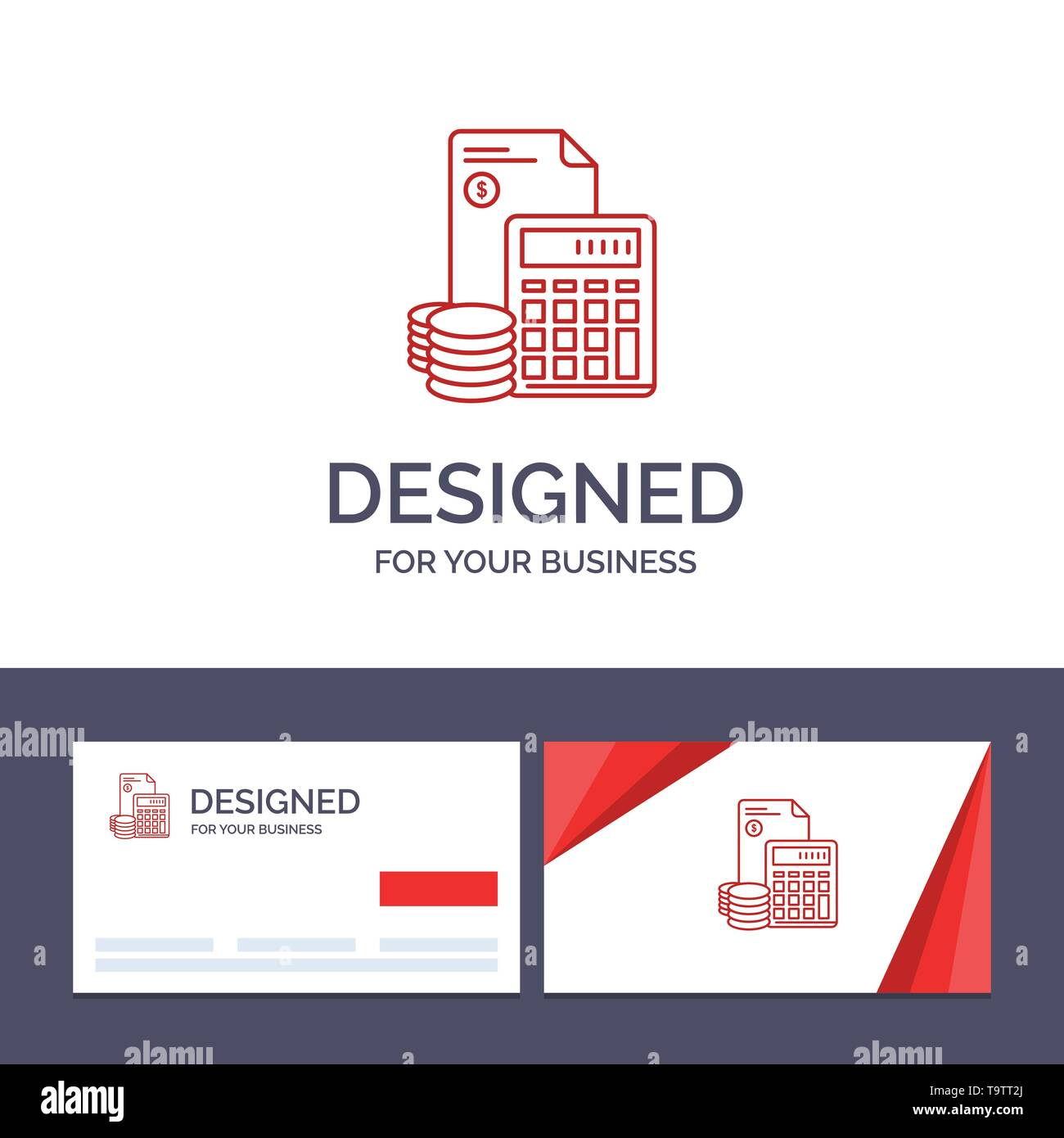 Creative Business Card and Logo template Investment, Accumulation, Business, Debt, Savings, Calculator, Coins Vector Illustration - Stock Image