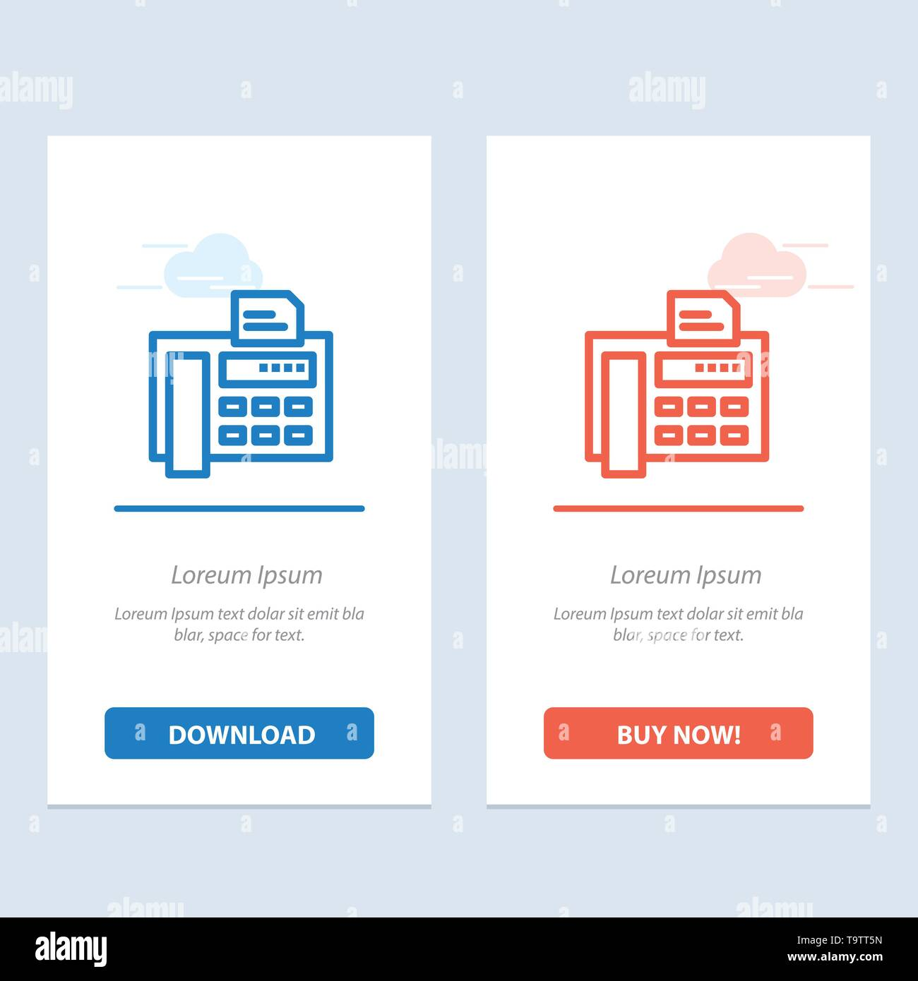 Fax, Phone, Typewriter, Fax Machine  Blue and Red Download and Buy Now web Widget Card Template - Stock Image