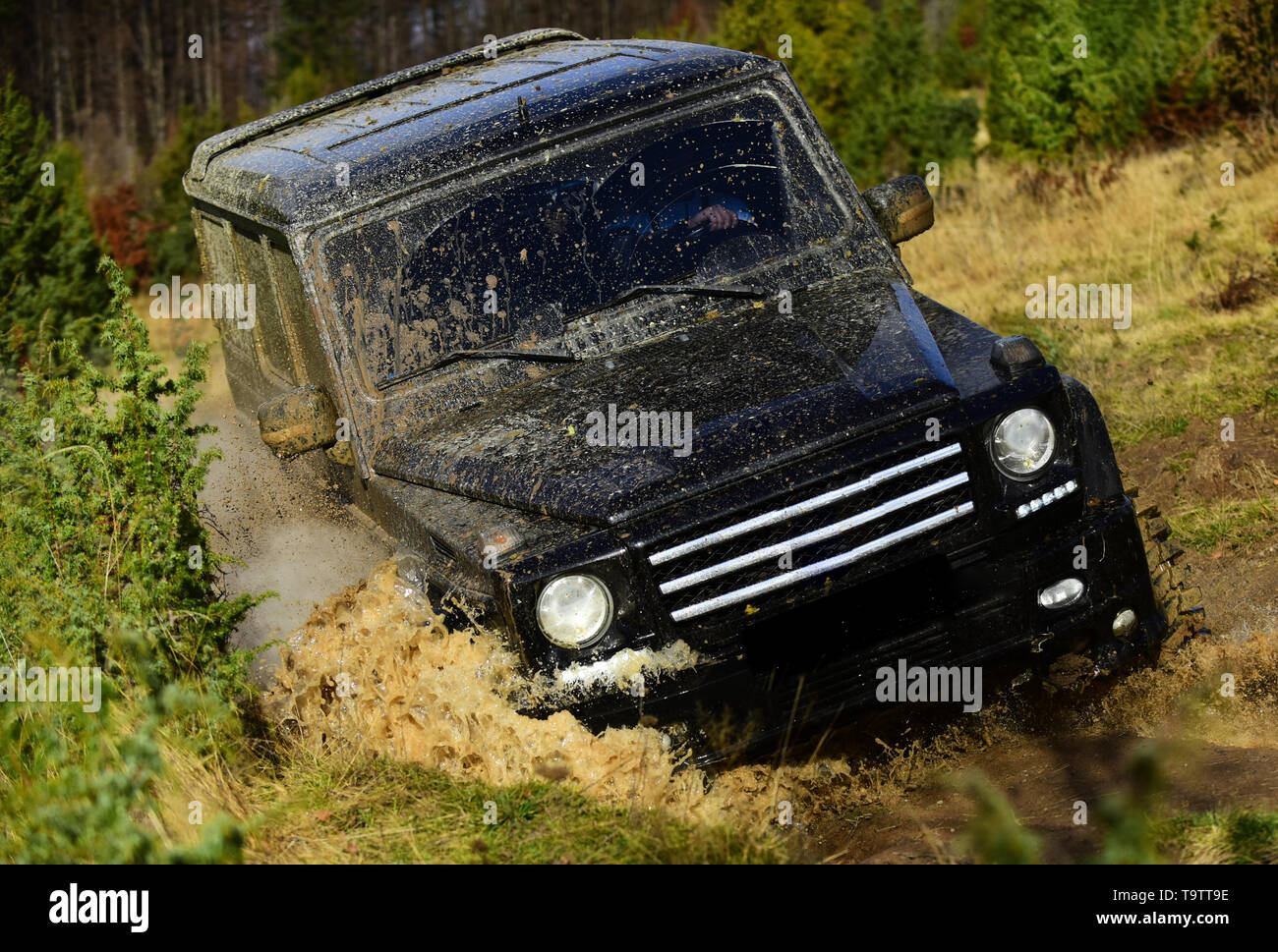 Competition, energy and motorsport concept. Off road vehicle or SUV overcomes obstacles. Auto racing on fall nature background. Car racing in autumn - Stock Image