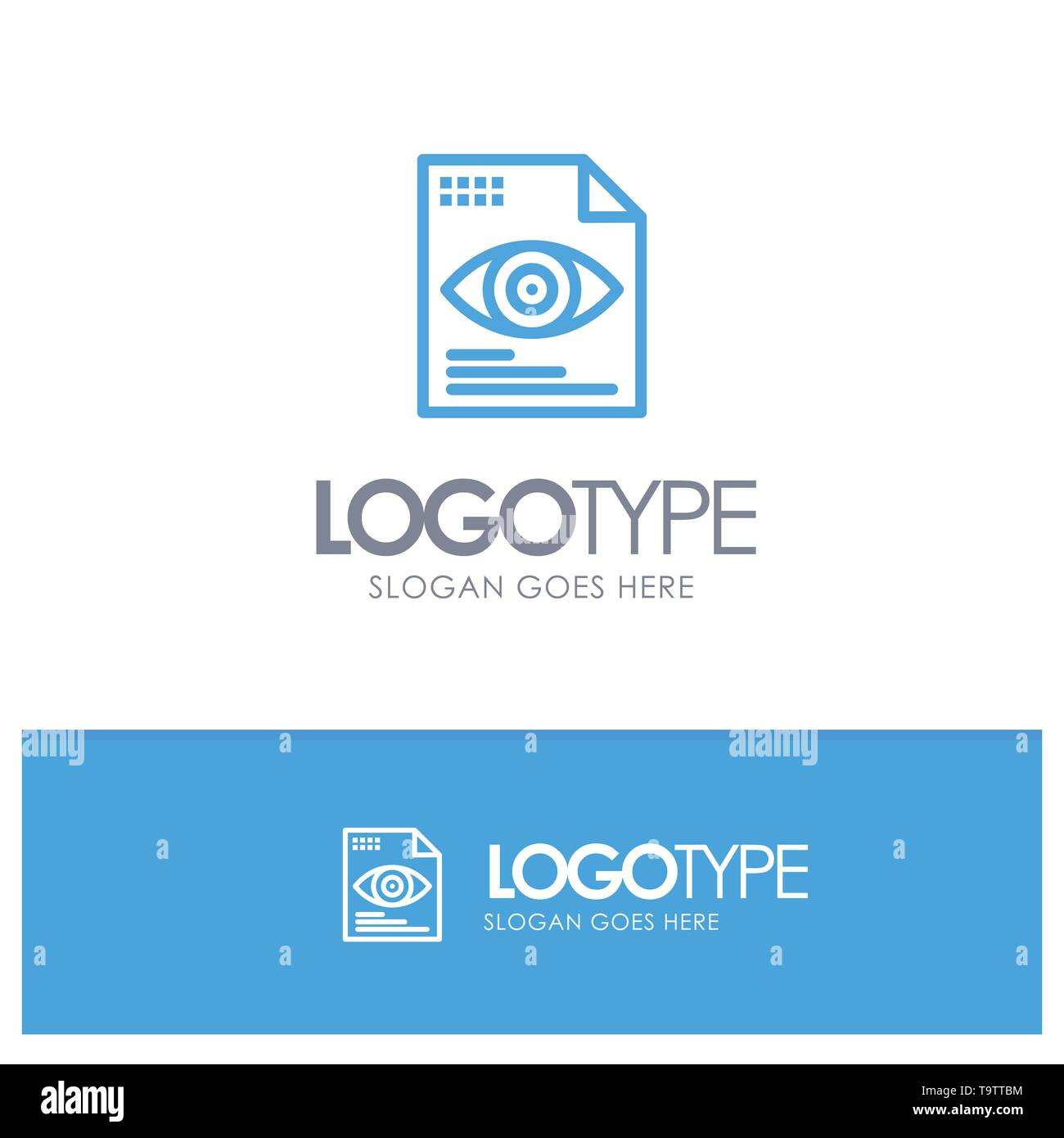 File, Text, Eye, Computing Blue Logo Line Style - Stock Image