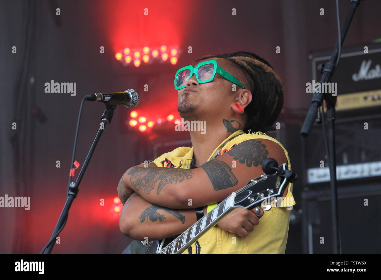 Quebec,Canada. Canadian reggae band Danny Rebel & the KGB perform live on stage during the Pouzza fest in Montreal. - Stock Image