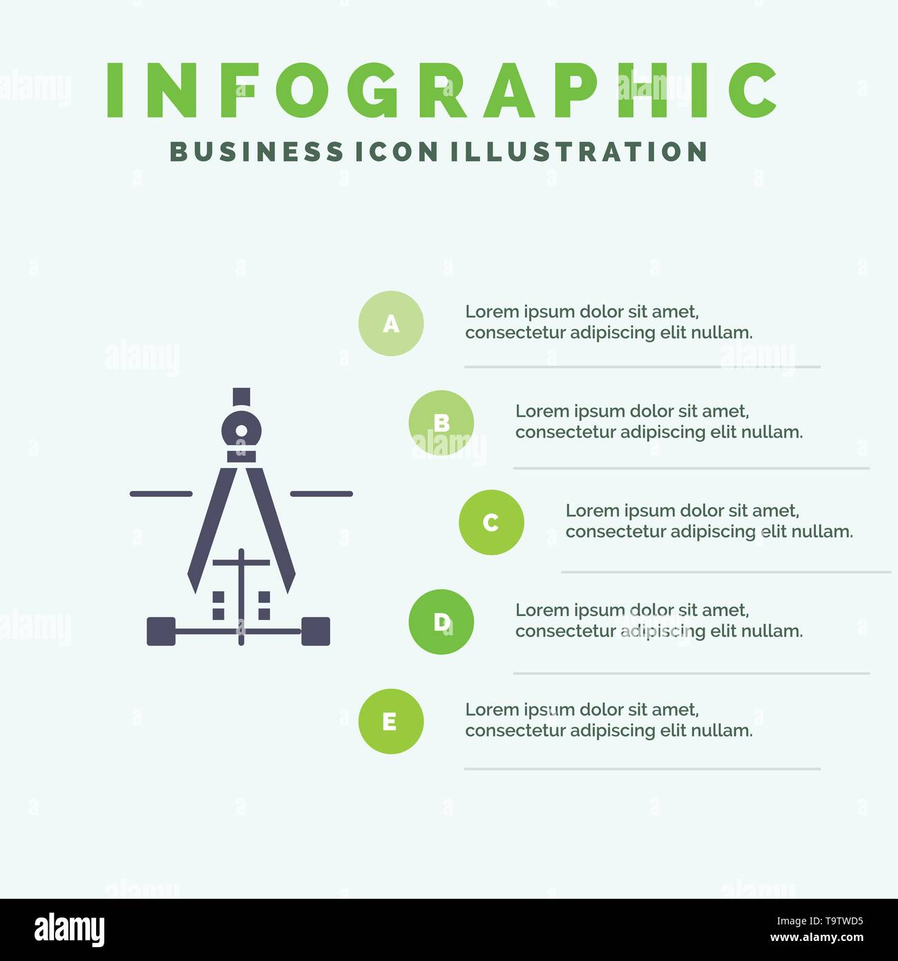 Compass, Drawing, Education, Engineering Infographics Presentation Template. 5 Steps Presentation - Stock Image