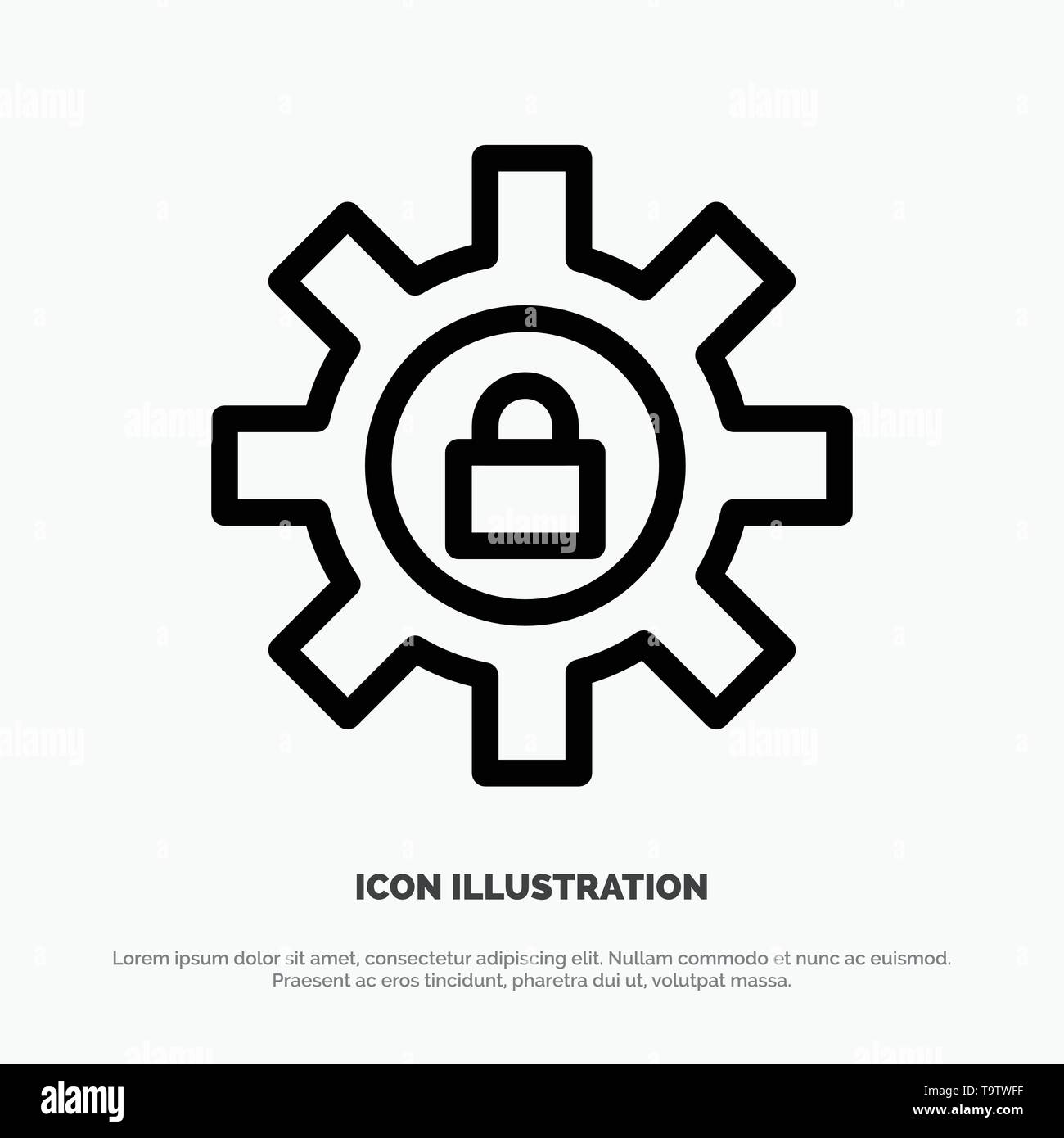 Gear, Setting, Lock, Support Line Icon Vector - Stock Image