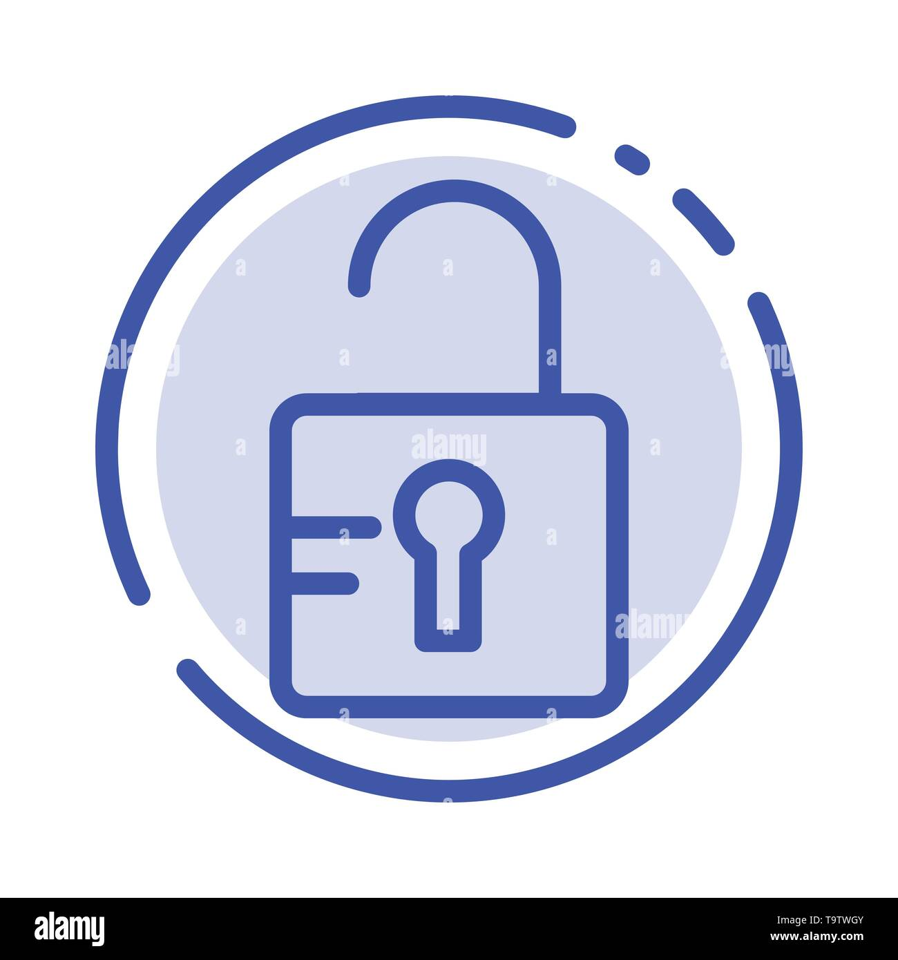 Unlock, Study, School Blue Dotted Line Line Icon - Stock Image