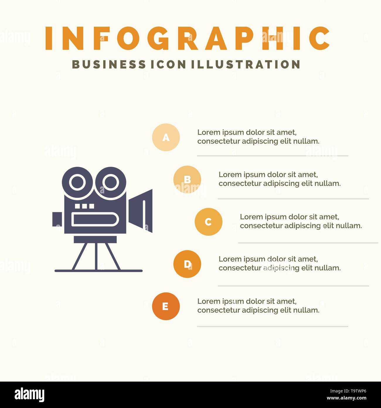 Camera, Capture, Film, Movie, Professional Solid Icon Infographics 5 Steps Presentation Background - Stock Vector