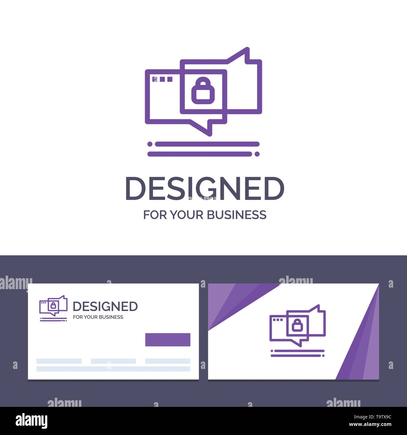 Creative Business Card and Logo template Chat, Chatting, Security, Secure Vector Illustration - Stock Image