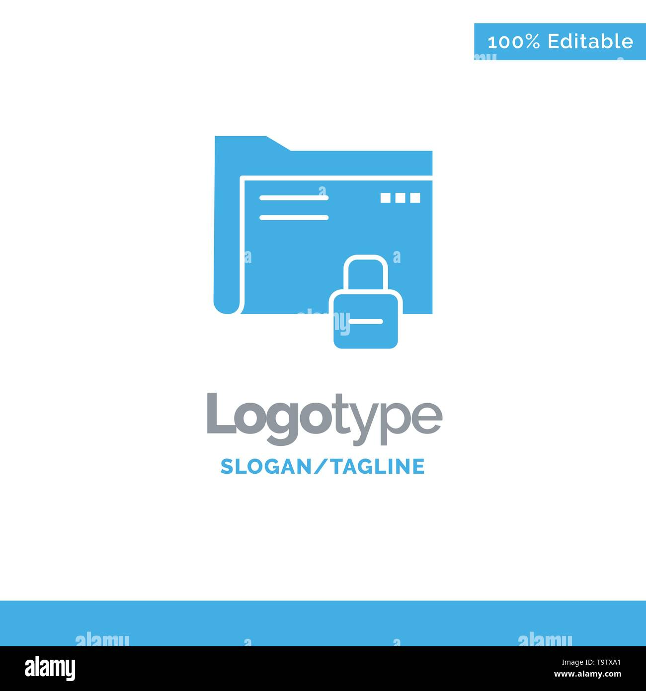 Data, Folder, Password, Protection, Secure Blue Solid Logo Template. Place for Tagline - Stock Image