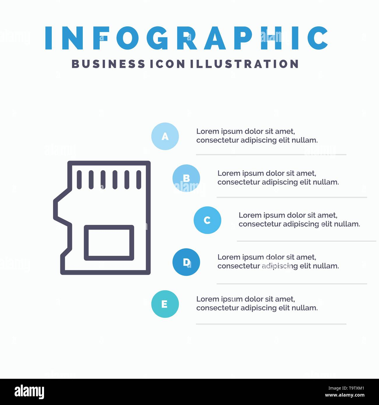 SD Card, SD, Storage, Data Line icon with 5 steps presentation infographics Background - Stock Image