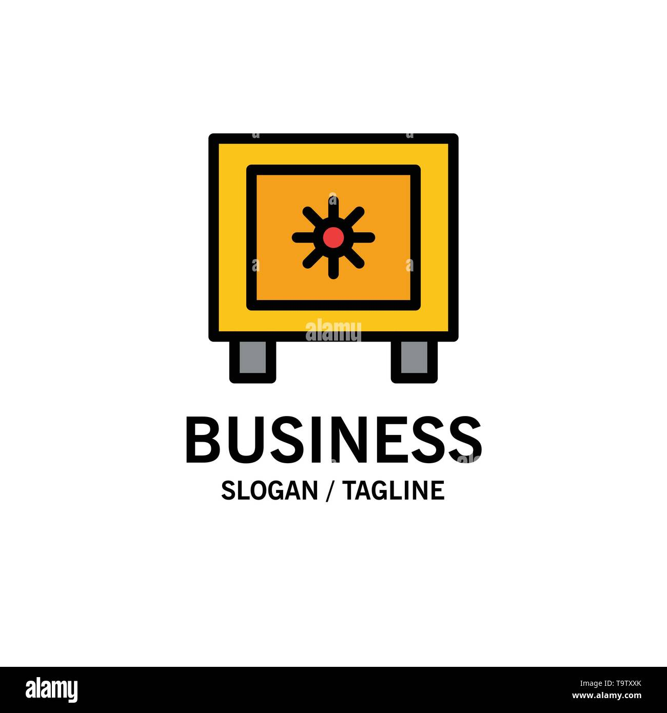 Locker, Lock, Global, Logistic Business Logo Template. Flat Color - Stock Image