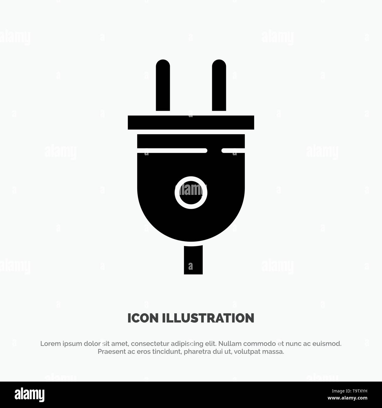 Electric, Plug, Power, Power Plug Solid Black Glyph Icon