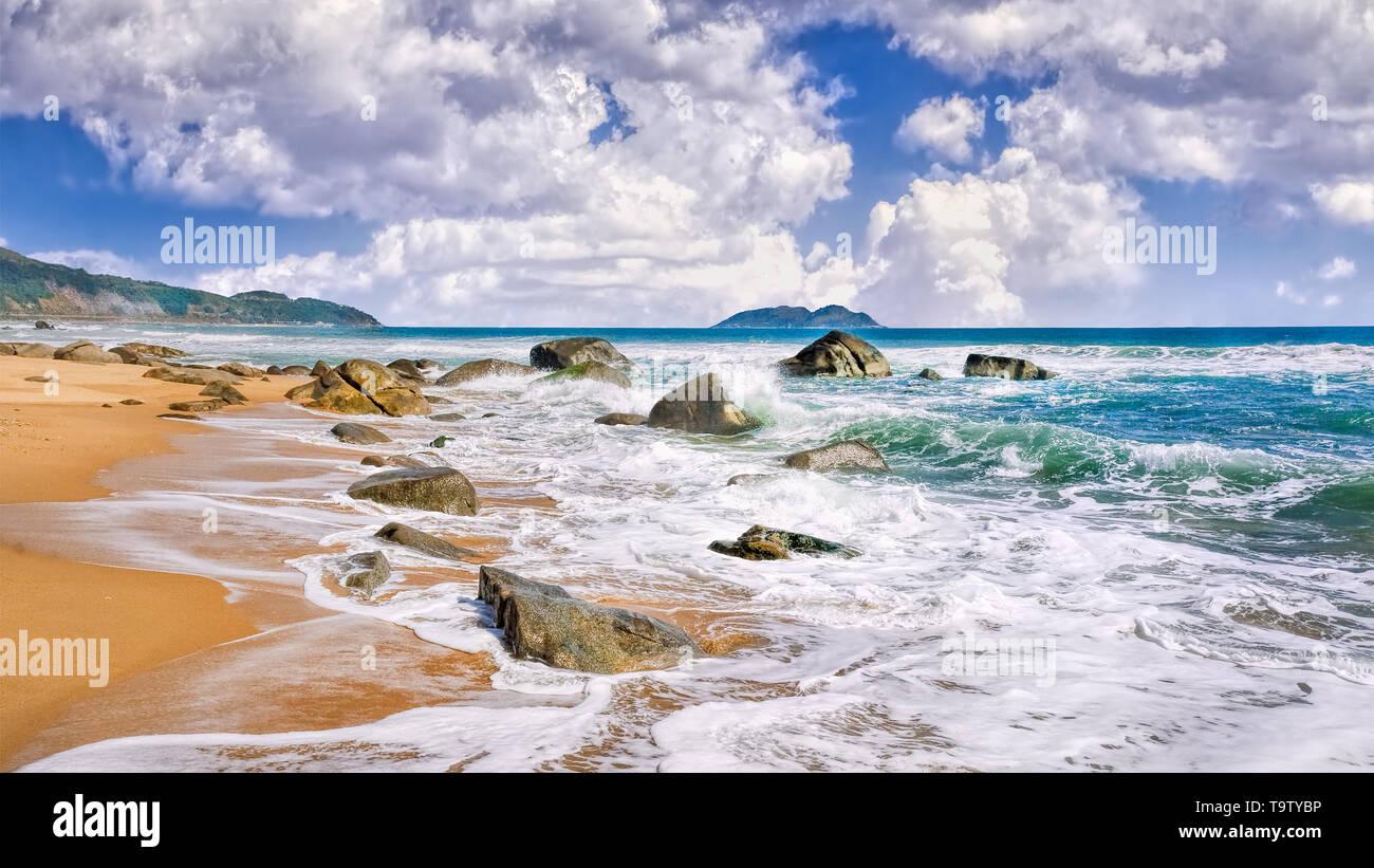 Spectacular beach view, Sanya, Hainan Island, South China - Stock Image