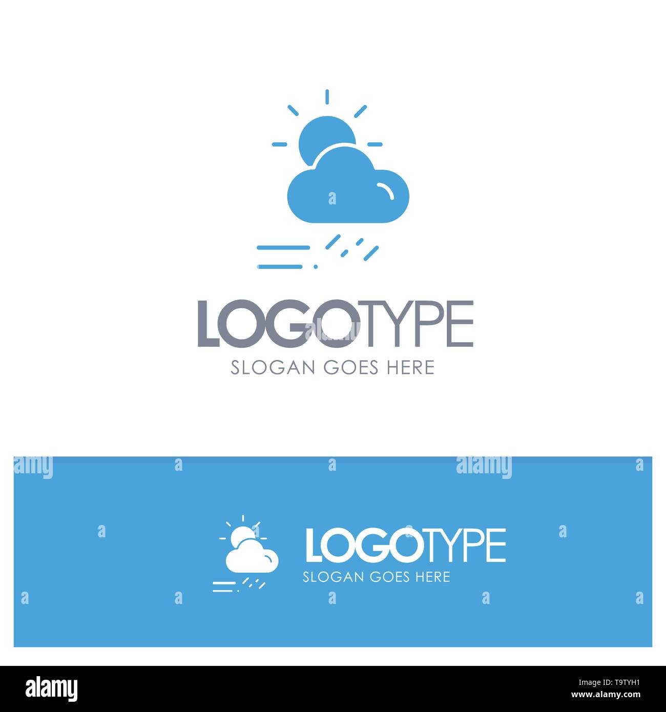 Cloud, Day, Rainy, Season, Weather Blue Solid Logo with place for tagline - Stock Image