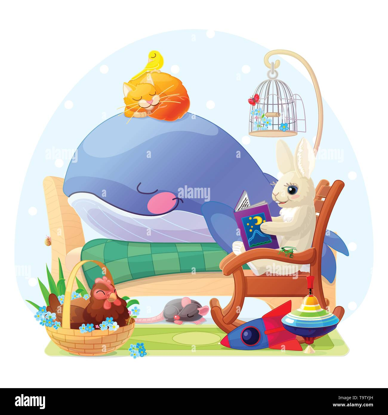 vector nursery wall art for kids cute illustration - Stock Image