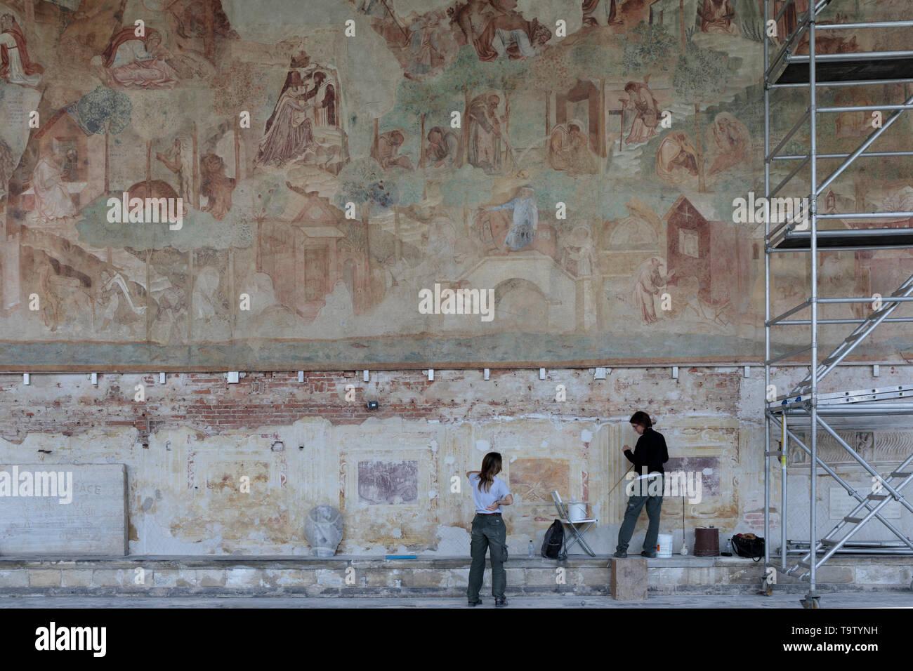 Art work in the Campo Santo in the Paizza del Duomo in Pisa Stock Photo