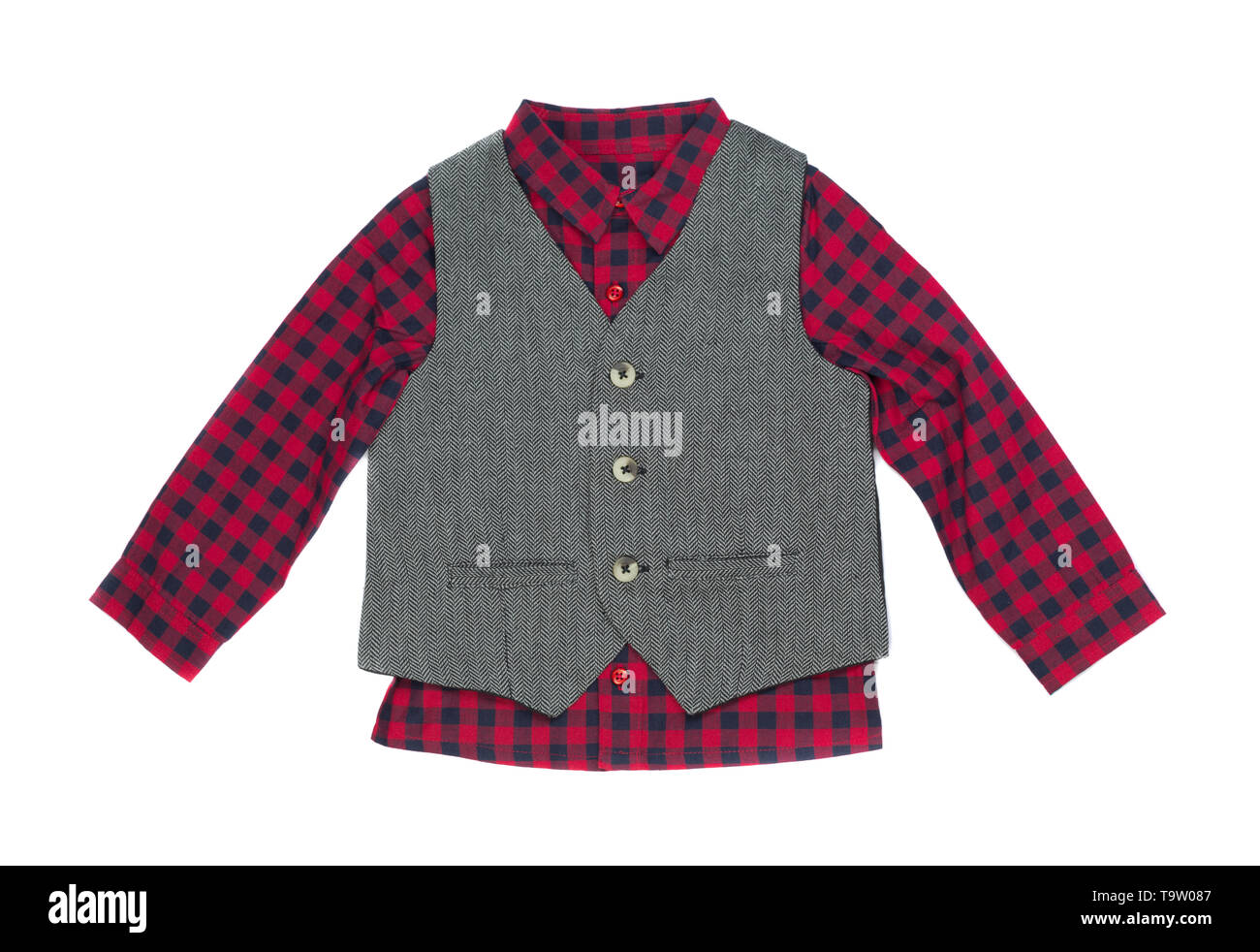 Plaid shirt with vest, isolate on a white background - Stock Image