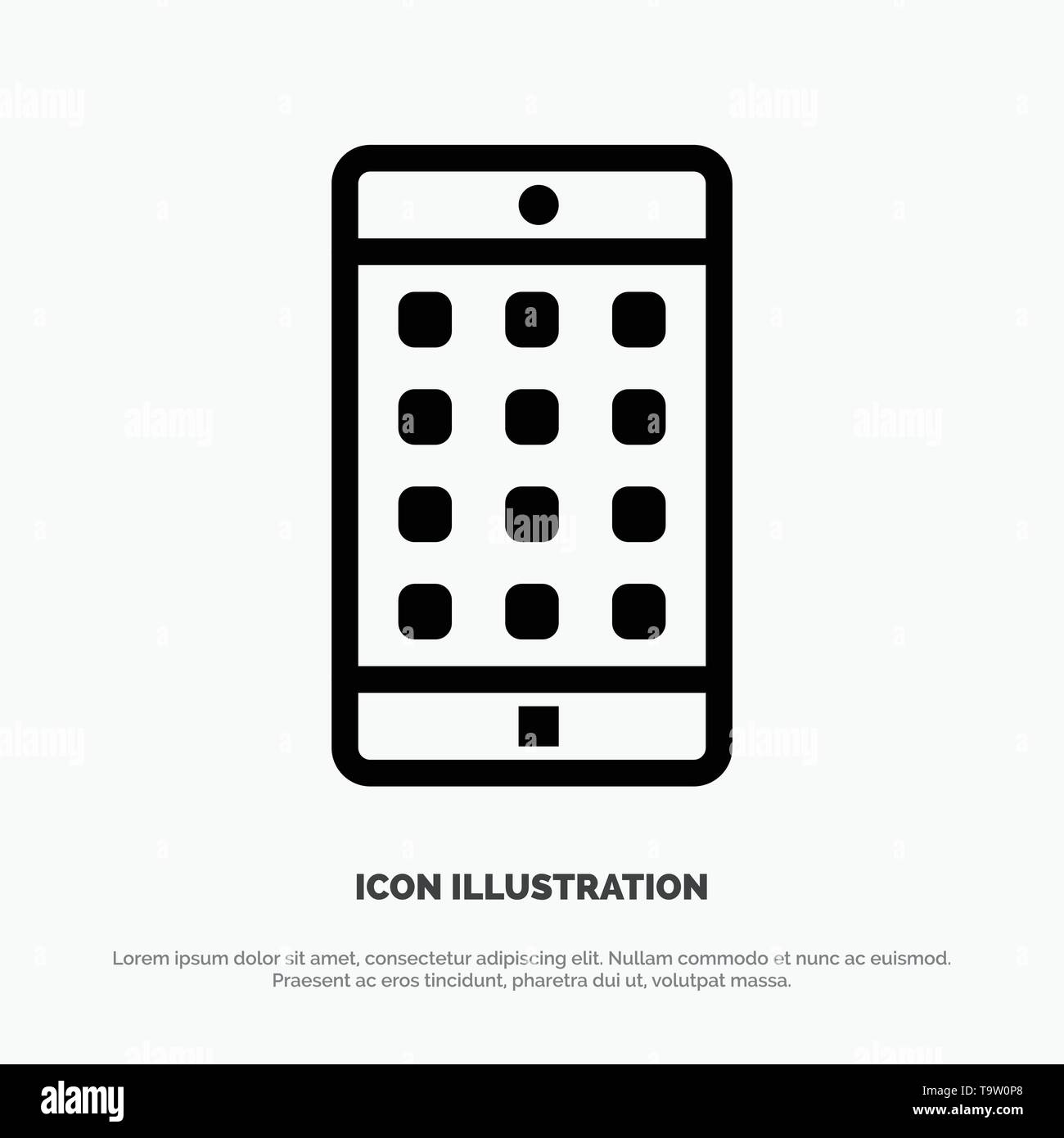 Application, Mobile, Mobile Application, Password Line Icon Vector - Stock Image