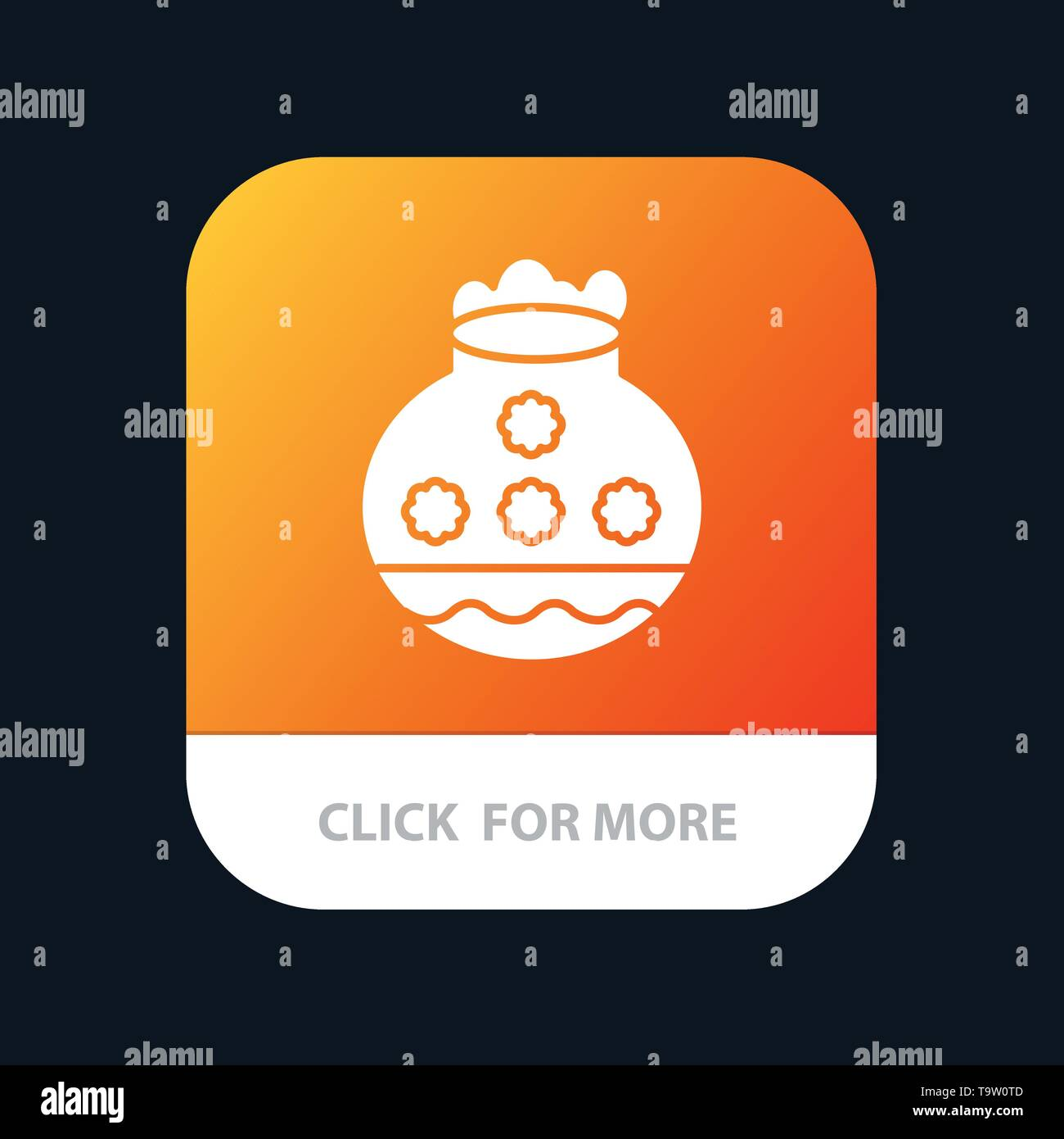 Pot, Sand, Water, Pongal, Festival Mobile App Button. Android and IOS Glyph Version - Stock Image