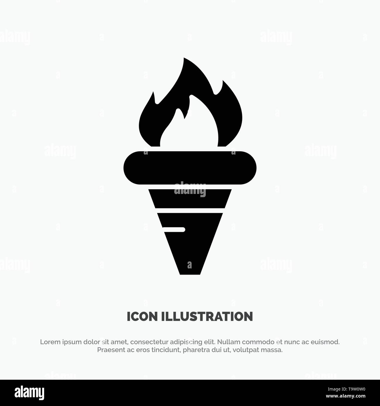 Flame, Games, Greece, Holding, Olympic solid Glyph Icon vector - Stock Vector