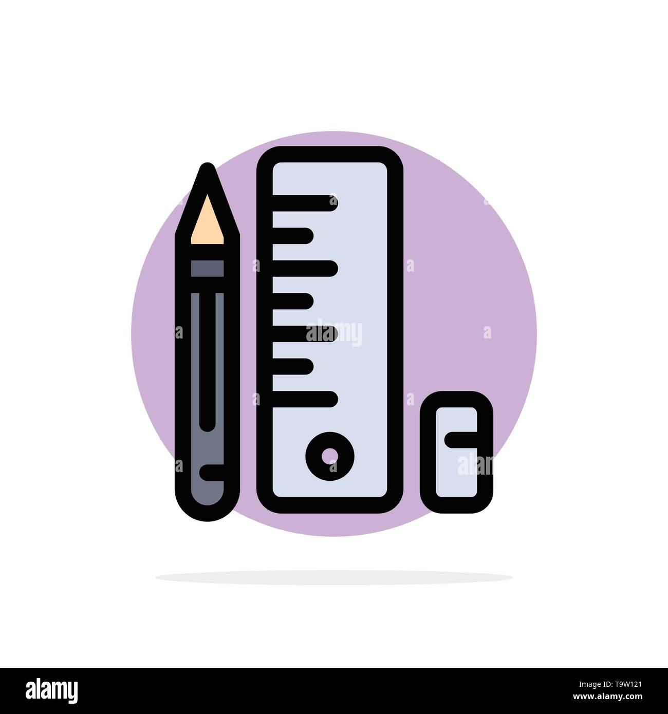 Education, Pen, Pencil, Scale Abstract Circle Background Flat color Icon - Stock Image