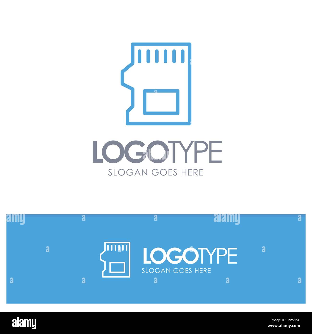 SD Card, SD, Storage, Data Blue Outline Logo Place for Tagline - Stock Image