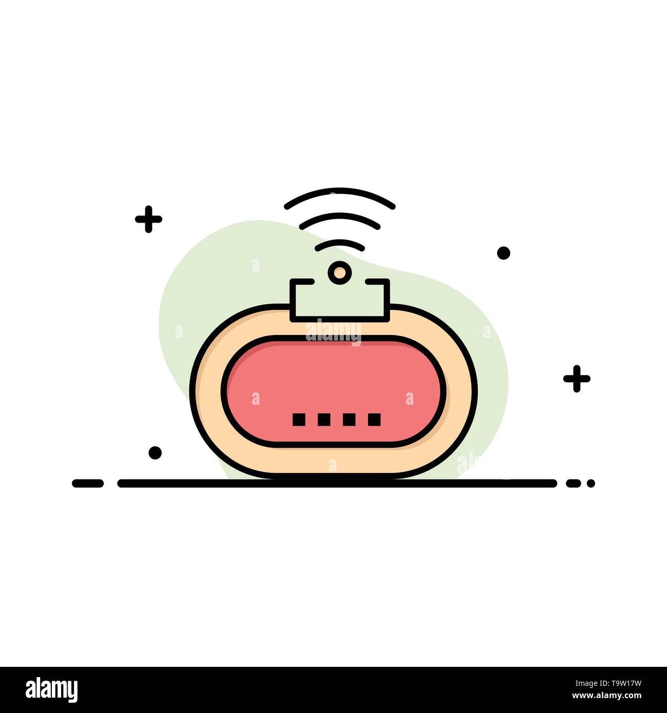 Device, Security, Wifi, Signal Business Logo Template. Flat Color - Stock Image