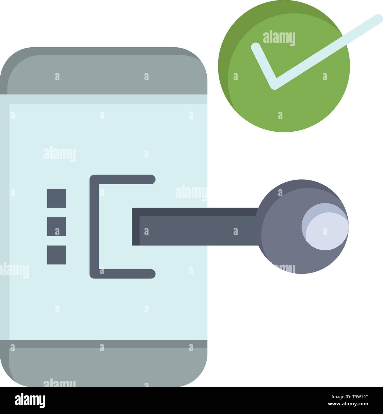 Key, Lock, Mobile, Open, Phone, Security  Flat Color Icon. Vector icon banner Template - Stock Image
